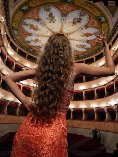Opera singer in Italian theater photo