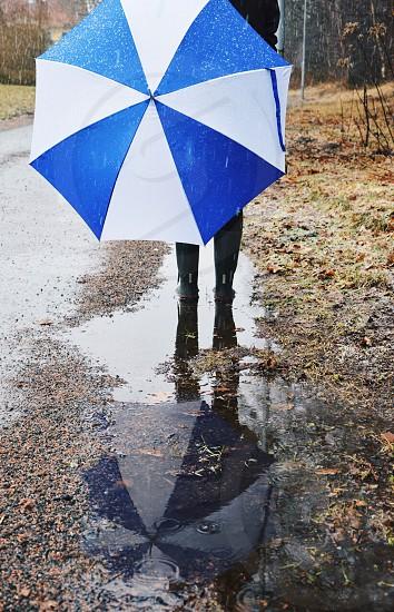 Rain raining umbrella puddle reflection color contrast photo