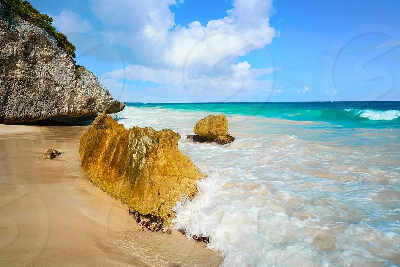 Tulum turquoise beach  in Riviera Maya at Mayan photo