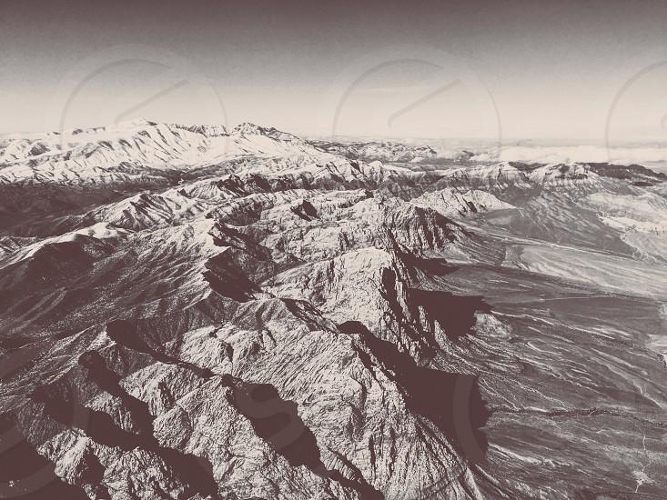 Mountains aerial plane desert landscape aerial landscape black and white contrast shadows photo