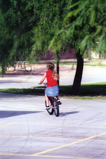 Bike biking young girl park summertime  photo