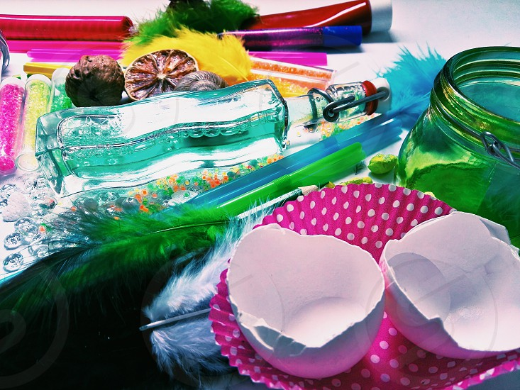 creativity. colorful tools ready to use to creating beautiful things photo