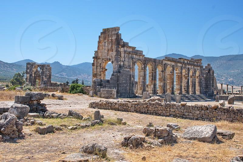 Roman ruins in Volubilis Morocco photo