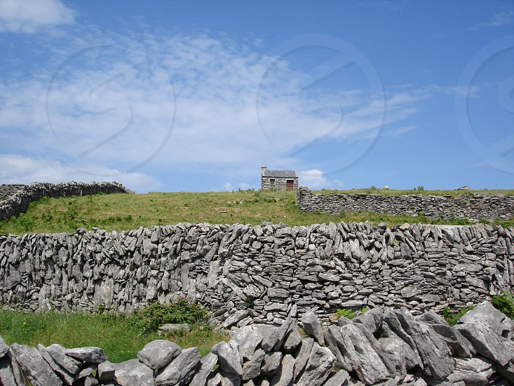 The stone-walled pastures of County Kerry Ireland photo