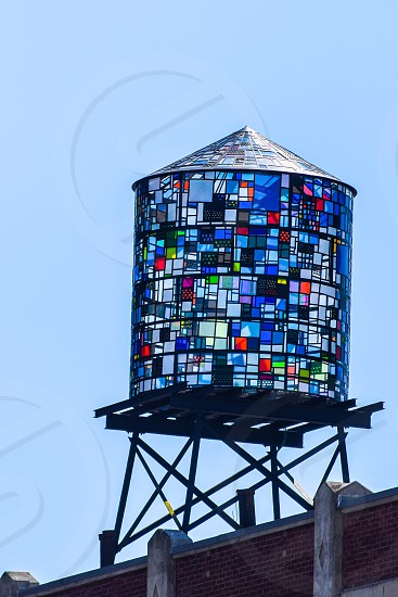 Brooklyn water tower mosaic colorful photo