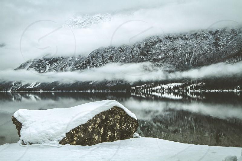 A winter lake in Slovenia photo