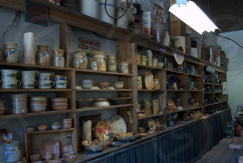 Wall in pottery shop photo
