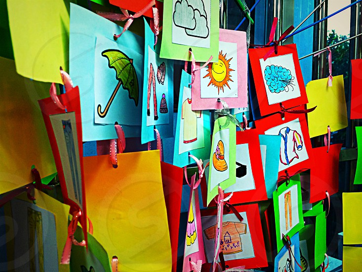 square hanging paper card display photo