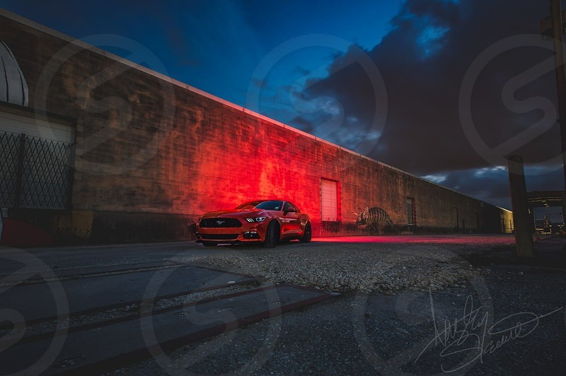 Long Exposure night dark car cars ford mustang graffiti art wall art mural light lighting vibrant sport car sports cars American Houston Texas muscle car photo