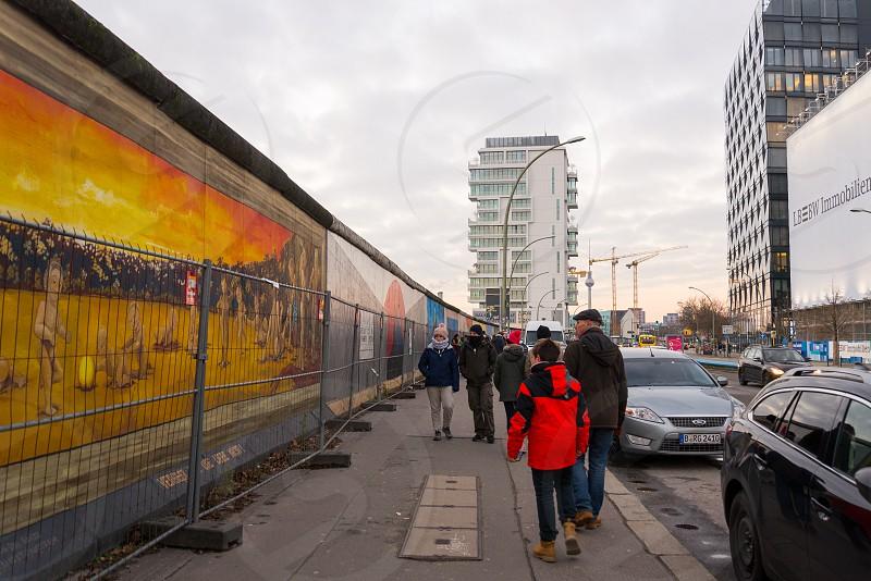 Sunset time at east side gallery inside Friedrichshain Neighborhoods in Berlin Germany photo