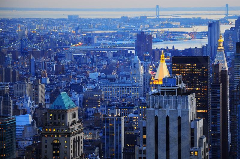 city buildings at dusk photo
