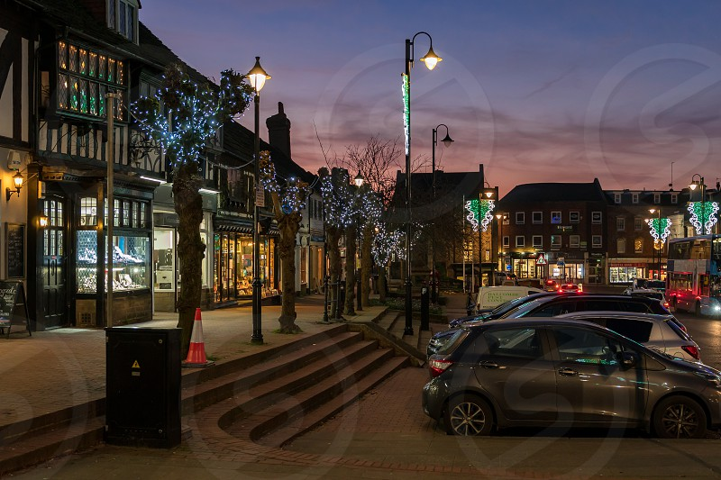 EAST GRINSTEAD WEST SUSSEX/UK - JANUARY 4  : View of the town centre at night in East Grinstead on January 4 2019 photo