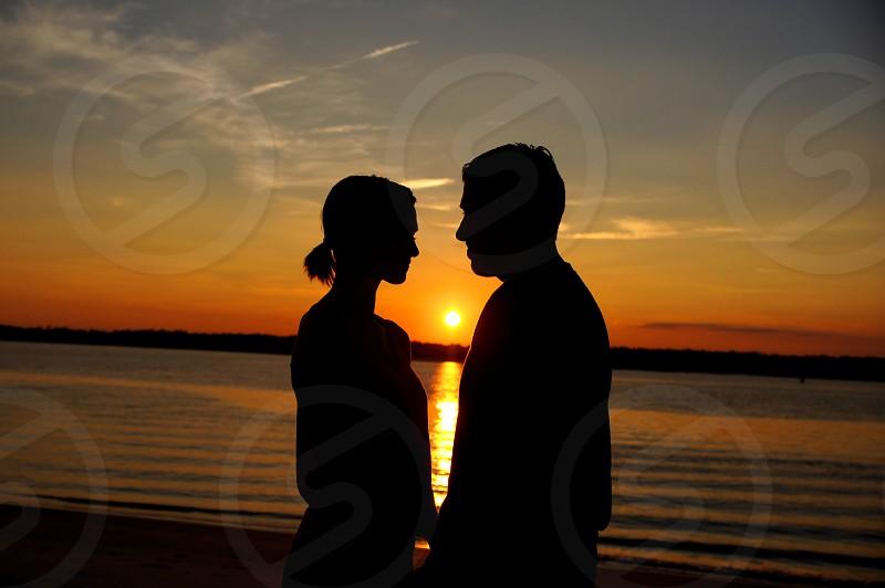 Sunset Wilmington North Carolina romantic couple silhouette people photo