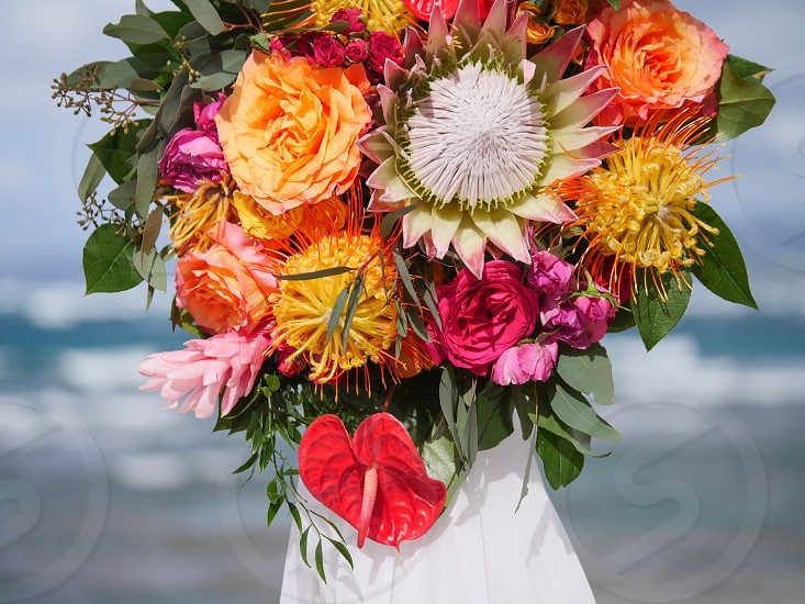 Tropical colorful flowers decoration wedding beach vibrant  photo