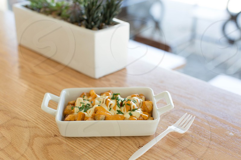 french fries covered in cheese and green herbs in white rectangular casserole dish with white plastic fork on brown wood table with white rectangular planter with green plants photo