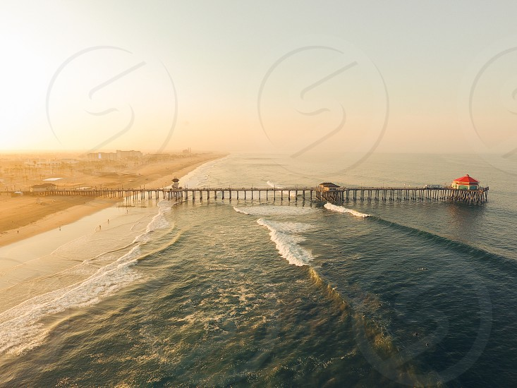 Drone ocean beach sunset sunrise pier SoCal Huntingtonbeach photo