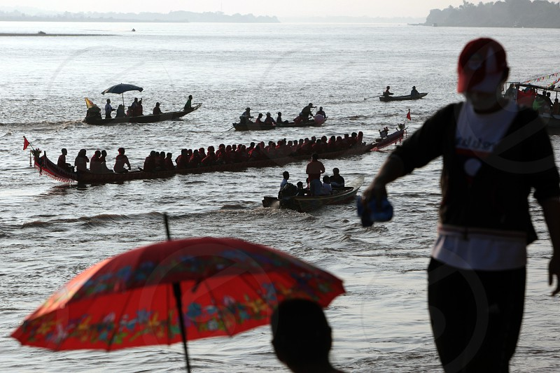 the traditional Dragon Rowing Race on the Mekong River in the city of Vientiane in Lao in Souteastasia. photo