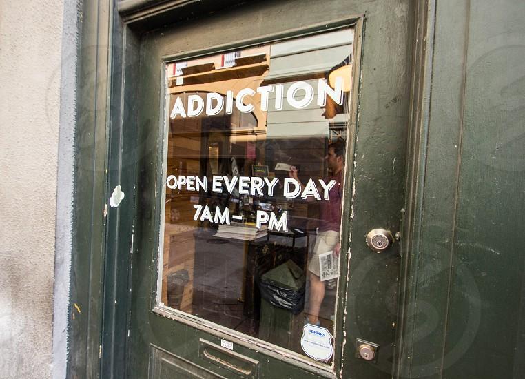 addiction door sign photo