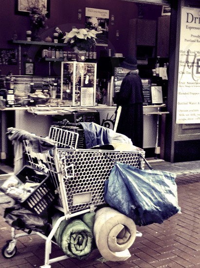 blue textile on white shopping cart photo