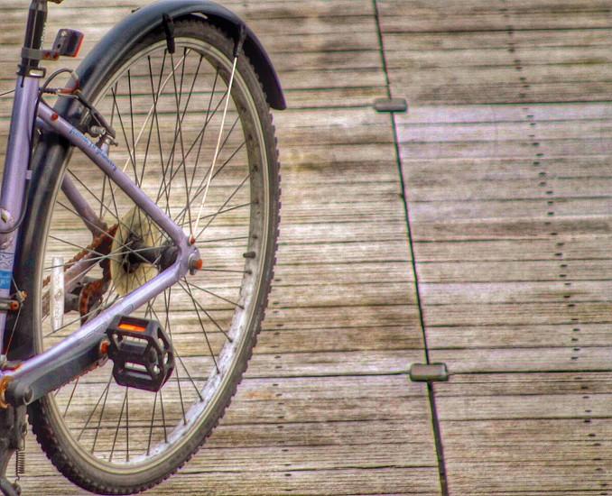 Cycle on the boardwalk wheelspikesspokespedalbicyclereflectorwoodwoodenwalkwaypierharbour photo