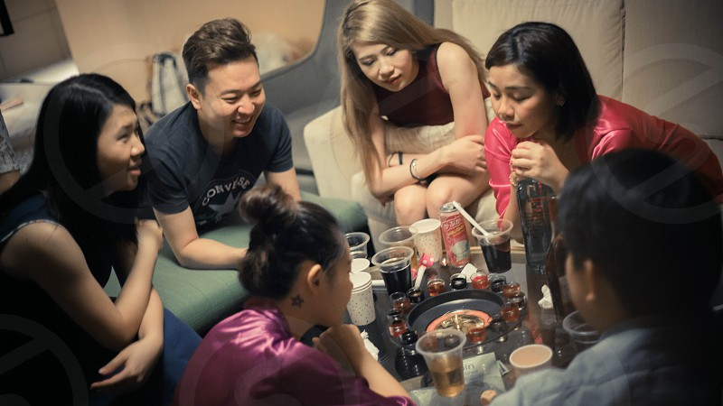group of people playing board games photo