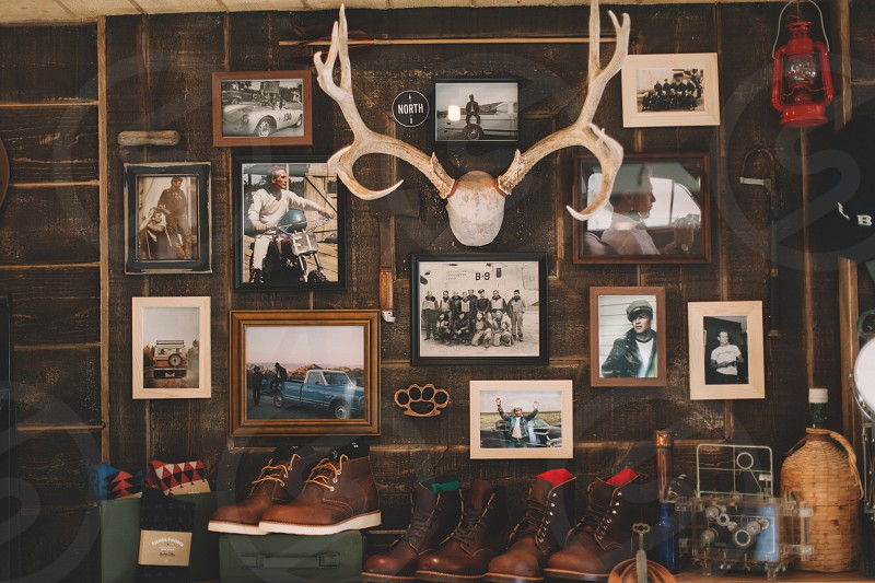 framed photos hanged on wall with deer antlers photo