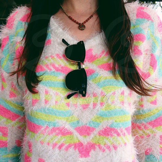 women's pink blue white and neon yellow printed fuzzy sweater photo