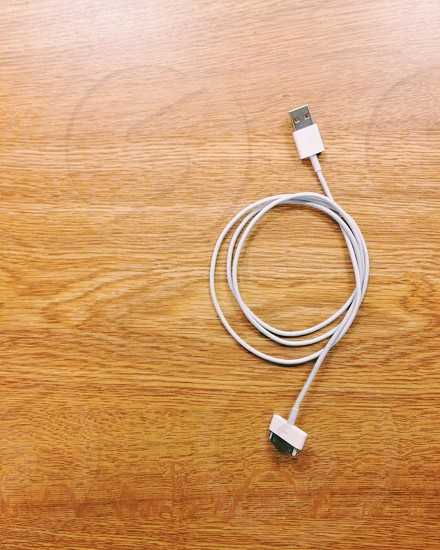 white 30-pin USB cable photo