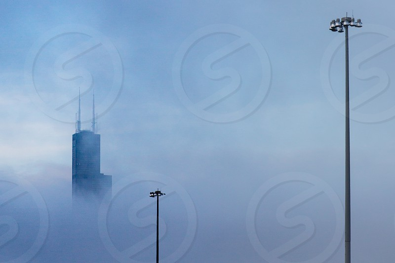The Willis Tower in Chicago IL after a storm.  photo