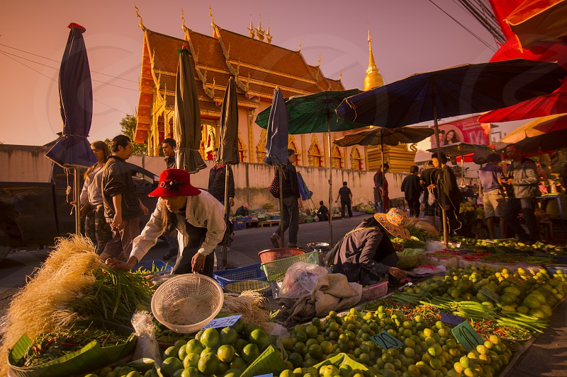 Thai fegetable at a market in the city of Chiang Rai in North Thailand. photo