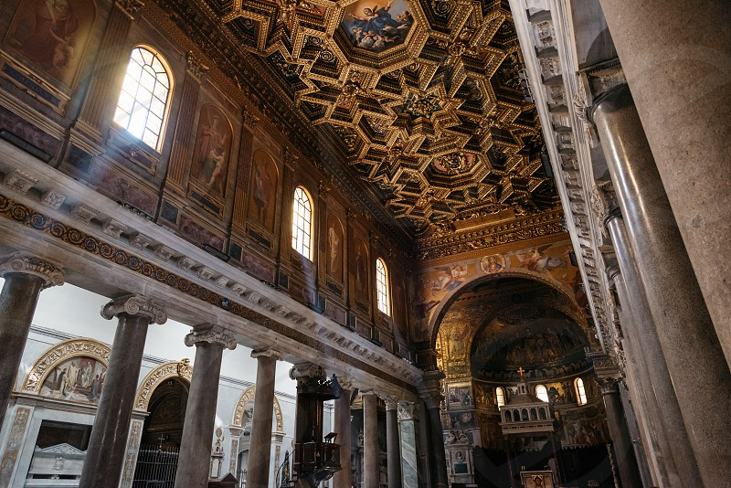 Interior view of church of Santa Maria in Trastevere photo