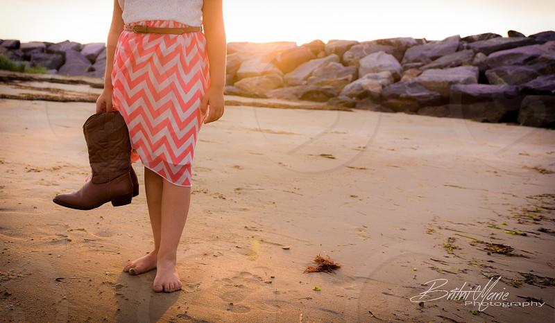 Cowgirl beach boots sand girl photo