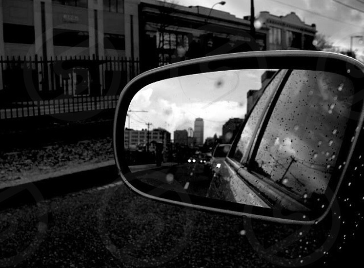 black car mirror photo