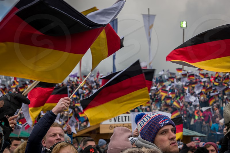 German supporters at the Vierschanzenturnier Ski Jumping event in Garmisch Partenkirchen photo