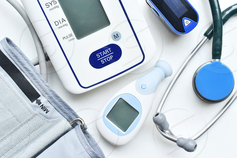 Healthcare products on the white table  photo