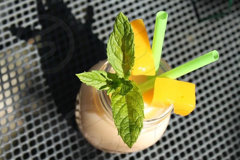 fruit shake in jar photo