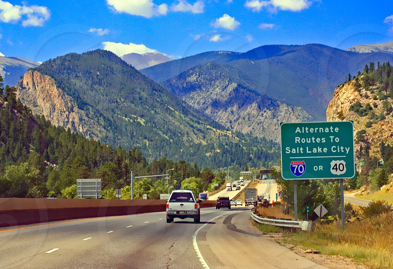 Heading through the Rocky Mountains of Colorado on Interstate 70 westbound. photo
