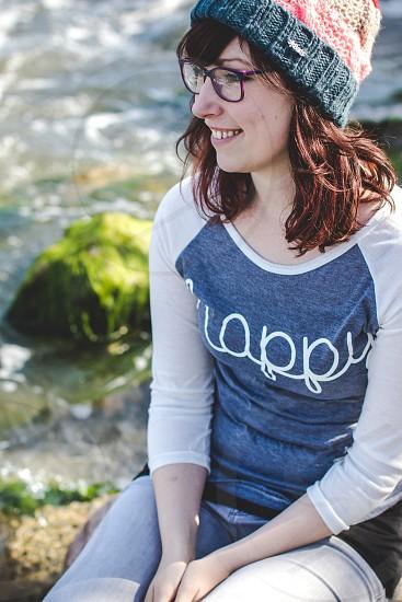 Statement. Women wearing her favourite T-Shirt. Women in happy T-Shirt photo