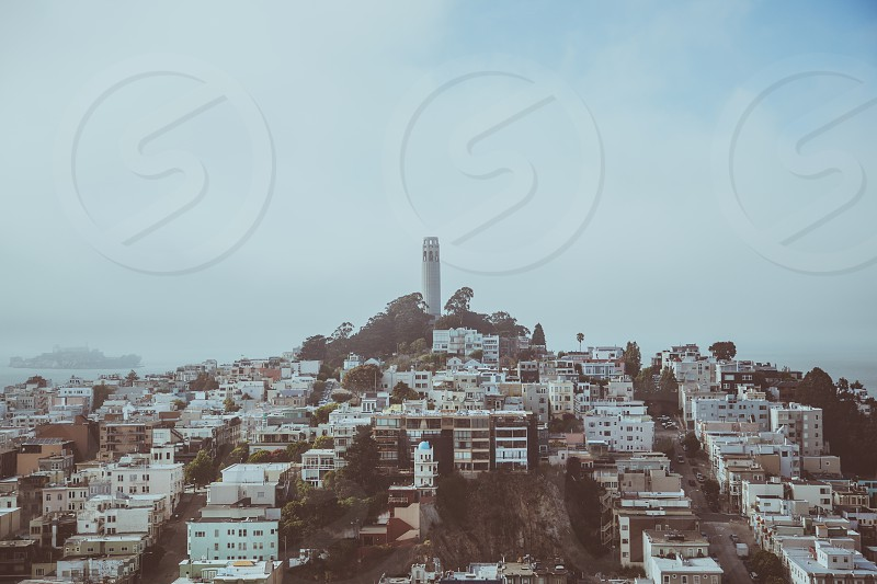 Coit Tower San Francisco fog sky buildings homes streets vintage alcatraz photo