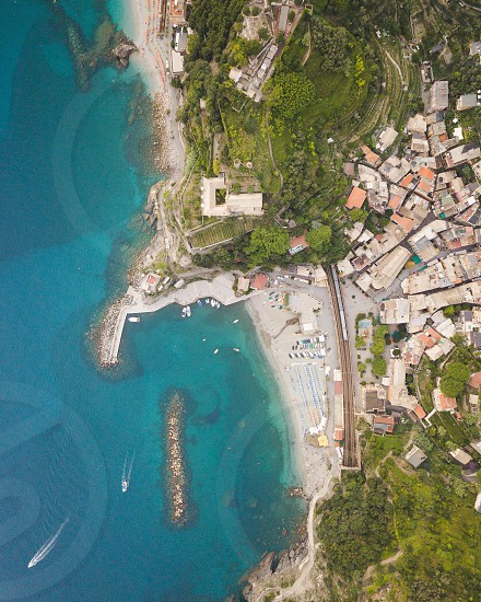 Drone shot over the Italian coastline.  photo