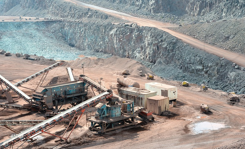 stone crusher in a surface mine. Open pit mine. Quarry photo