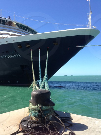 At dock cruise ship boat tie down rope photo