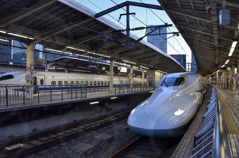 white electric train photo