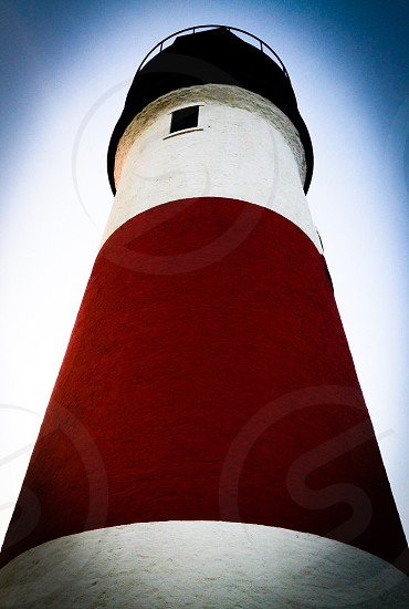 Lighthouse red white summer photo