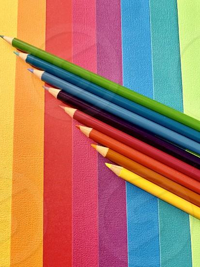 Color pencils flat lay conceptual photo