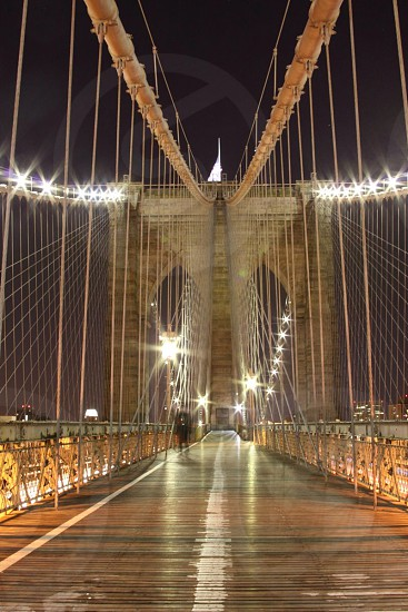 The Brooklyn Bridge walking path.  Long exposure of 1 minute.  photo