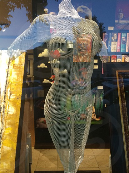 a holographic image of a female body with no head and arms projected on a glass with a bookshelf as the background photo