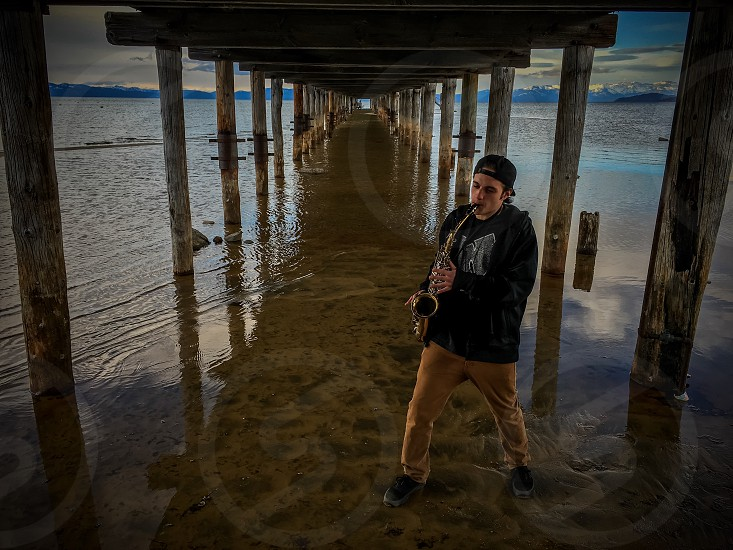 Getting saxy at the beach! Location: South Lake Tahoe California  photo
