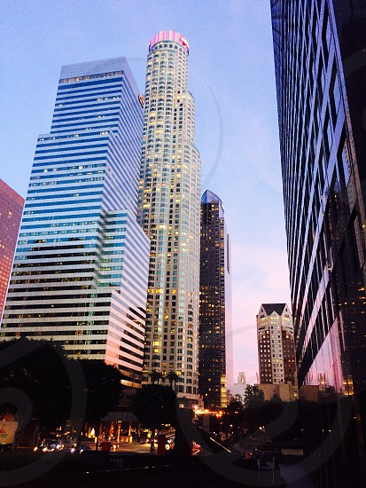 Downtown; Los Angeles; sunset; pink; skyscraper; building; urban; California  photo