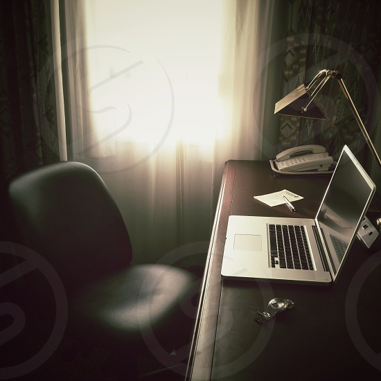Office on the road. Working from a hotel. photo